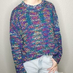 Vintage Rainbow Marled Knit Cozy Pullover Sweater